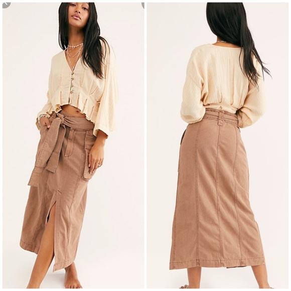 Free People Dresses & Skirts - NWT Free People Catching Feelings Brown Midi Skirt